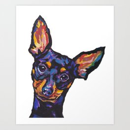 Miniature Pinscher Dog Portrait bright colorful Fun Pop Art Dog Painting by LEA Art Print