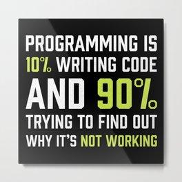 Programming is 10% writing Code | Gift Metal Print