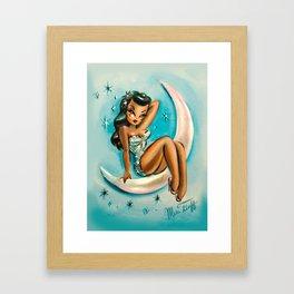 Glamour Girl on the Moon Blue Framed Art Print