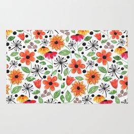 Dandelions & Flowers / White Rug