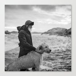 The man, the sea, the hound. Canvas Print