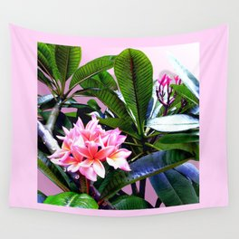 Tropical vibes in pink, plumeria flower. Wall Tapestry