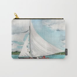 Sail Away watercolor painting of sailboat on turquoise waters Carry-All Pouch
