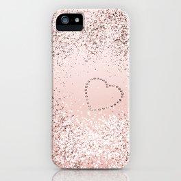 Sparkling ROSE GOLD Lady Glitter Heart #5 #decor #art #society6 iPhone Case