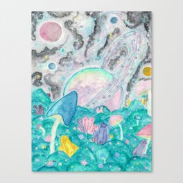 Mushroom Crystal Planet Canvas Print