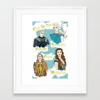 game of thrones Framed Art Prints featuring Game Of Thrones  by JessicaJaneIllustration