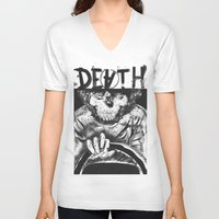 death V-neck T-shirts featuring DEATH  by TARTWURK