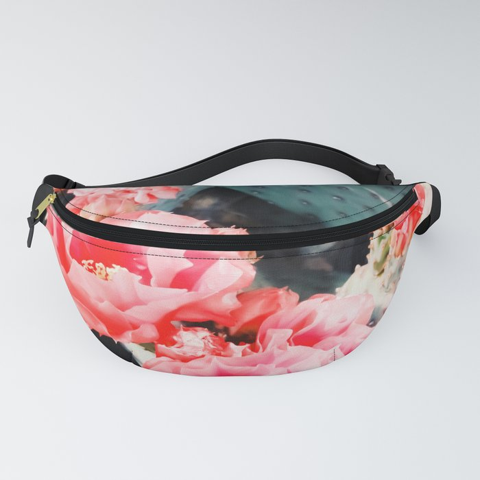 closeup blooming red cactus flower texture background Fanny Pack