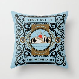 Shout Out to the Mountains Vintage Poster Art Throw Pillow