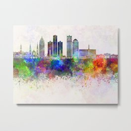 Detroit skyline in watercolor background Metal Print
