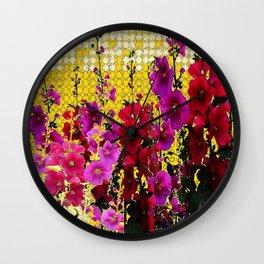 ARTISTIC PINK-REDS-PURPLE HOLLYHOCK GARDEN Wall Clock