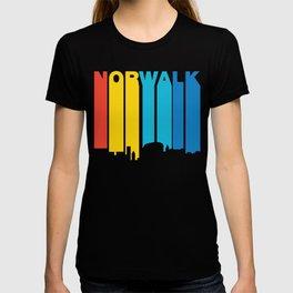 Retro 1970's Style Norwalk Connecticut Skyline T-shirt