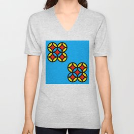 Colored Circles on Light Blue Board Unisex V-Neck