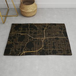 Black and gold Orlando map Rug