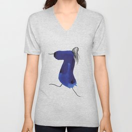 How to be a girl #8 -minimalist girl in bright blue ink Unisex V-Neck