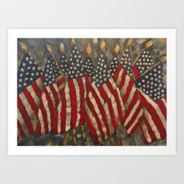 My Country Tis of Thee American Flags Art Print