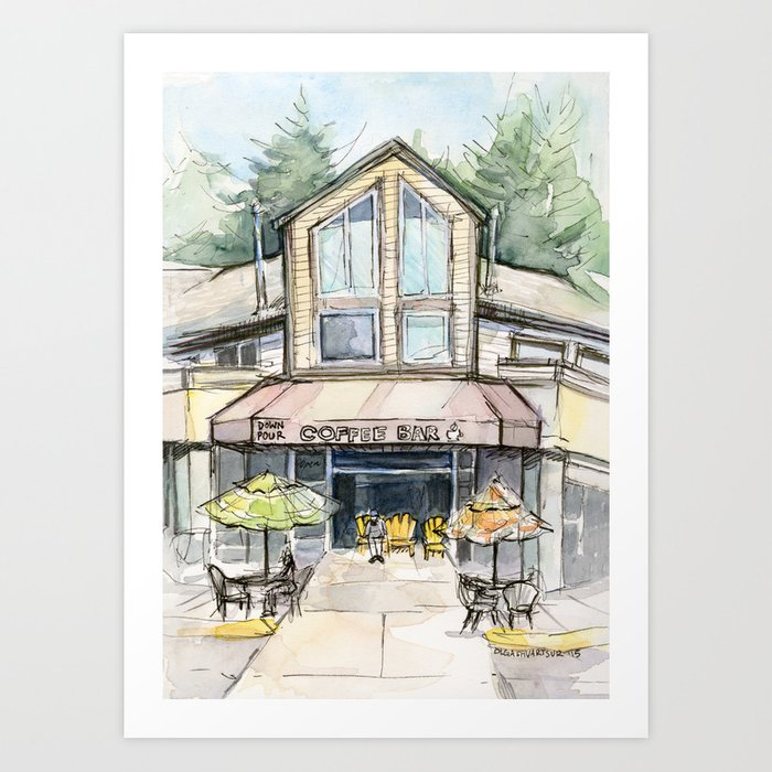 Coffee Shop Art Urban City Watercolor Art Print