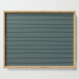 Night Watch PPG1145-7 Hand Drawn Horizontal Stripes on Juniper Berry Green PPG1145-6 Serving Tray