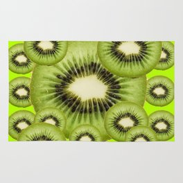 GREEN KIWI SLICES MODERN ART Rug