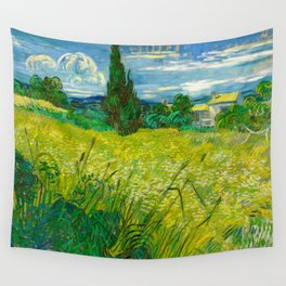 Green Wheat Field with Cypress Painting by Vincent van Gogh Wall Tapestry