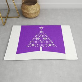 Christmas Tree Of Snowflakes and Stars On Violet Background Rug