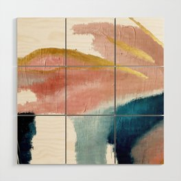 Exhale: a pretty, minimal, acrylic piece in pinks, blues, and gold Wood Wall Art