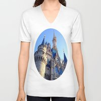castle V-neck T-shirts featuring Castle by Jillian Stanton