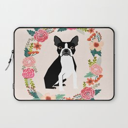 Boston Terrier floral wreath flowers dog breed gifts Laptop Sleeve