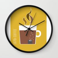 70s Wall Clocks featuring 70s Coffee by Morgane Cazaubon