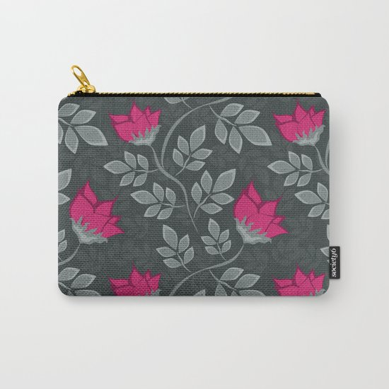 Bright pink flowers on gray Carry-All Pouch