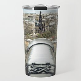 scott monument from Edinburgh castle gun Scotland Travel Mug