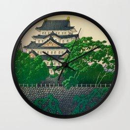 Kawase Hasui Vintage Japanese Woodblock Print Nagoya Castle Wall Clock