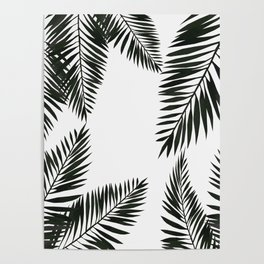 Black Watercolor Tropical Leaves Poster