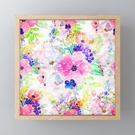 Pretty watercolor floral hand paint design Framed Mini Art Print