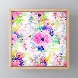 Pretty watercolor floral hand paint design Framed Mini Art Print