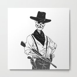 Sheriff with mustache and rifle Metal Print