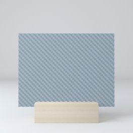 Blue and Off White Grid Stripes Tessellation Pattern Matches Chinese Porcelain and Delicate White Mini Art Print