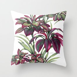 Tropical Leaves Sing Throw Pillow