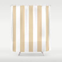 Durian White pink - solid color - white vertical lines pattern Shower Curtain