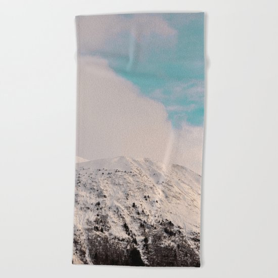 Black, White & Turquoise Winter Beach Towel
