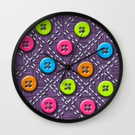 Colorful Buttons and Stitches Wall Clock