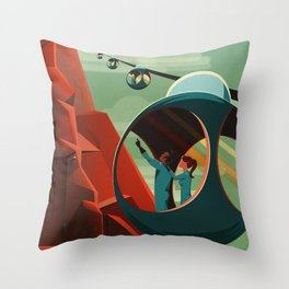 Mars Retro Space Travel Poster Throw Pillow