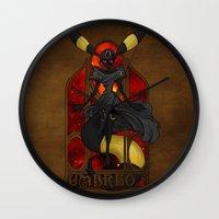 "umbreon Wall Clocks featuring Rule 63: Umbreon by Barbora ""Mad Alice"" Urbankova"