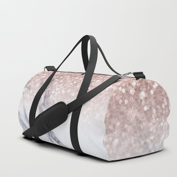 d2a476d5ee1a She Sparkles Rose Gold Marble Luxe Duffle Bag by naturemagick