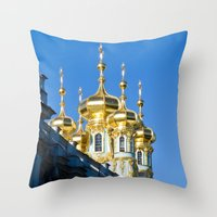 spires Throw Pillows featuring Catherine Palace Spires - Pushkin - Russia by PRE Media