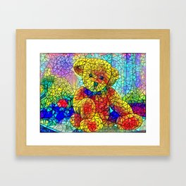 Stained Glass Teddy Bear Colourful Cute Kids Nursery Bedroom Design Framed Art Print
