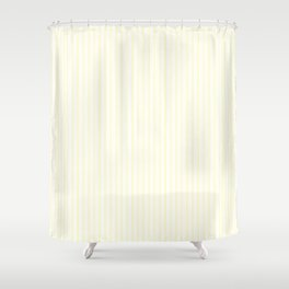Large Vertical Pastel Lemon Yellow Princess Elizabeth Regal Stripe Shower Curtain