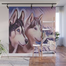 A Pair of Siberian Huskys Wall Mural