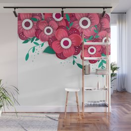 poster with bright flowers. Trendy Design Template. Wall Mural