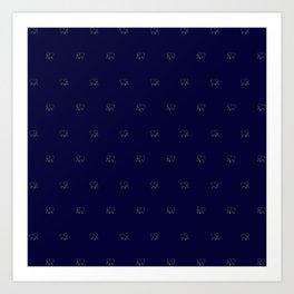 elephant pattern blue/ivory Art Print